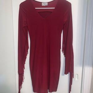 Burgundy Fringe Back Detail Bodycon Mini Dress